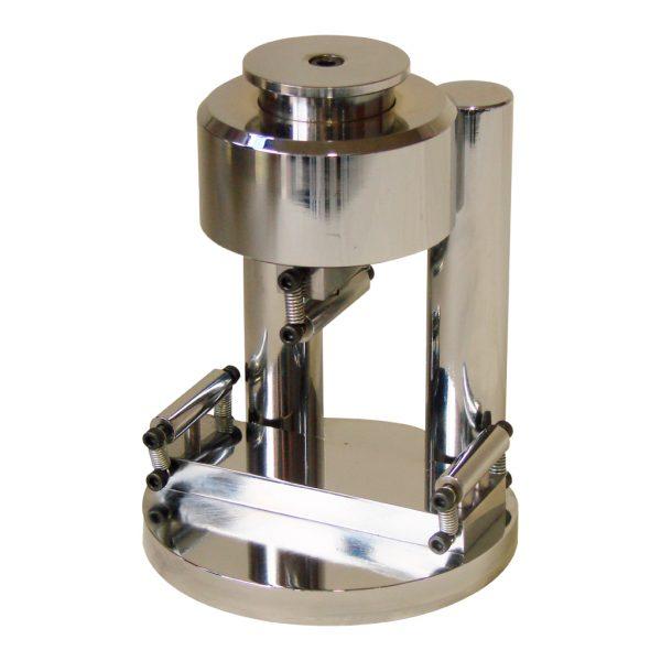 Dispositivo cromado fabricado según la norma ASTM C348 para efectuar ensayos a flexión sobre prismas de mortero