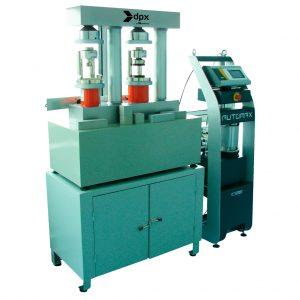 Bastidor doble de dos columnas para ensayos a compresión y flexión en probetas de mortero. Según las normas ASTM C109 y C348