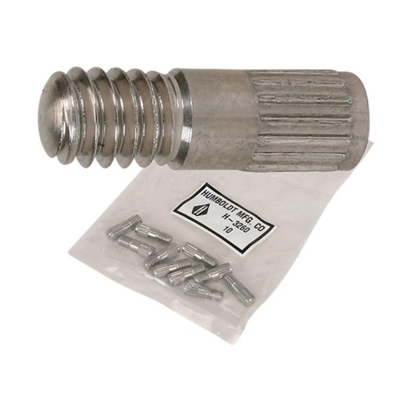 Paquete con diez contactos roscados para fundir con probetas de mortero en ensayos de expansión, contracción y cambios de volumen