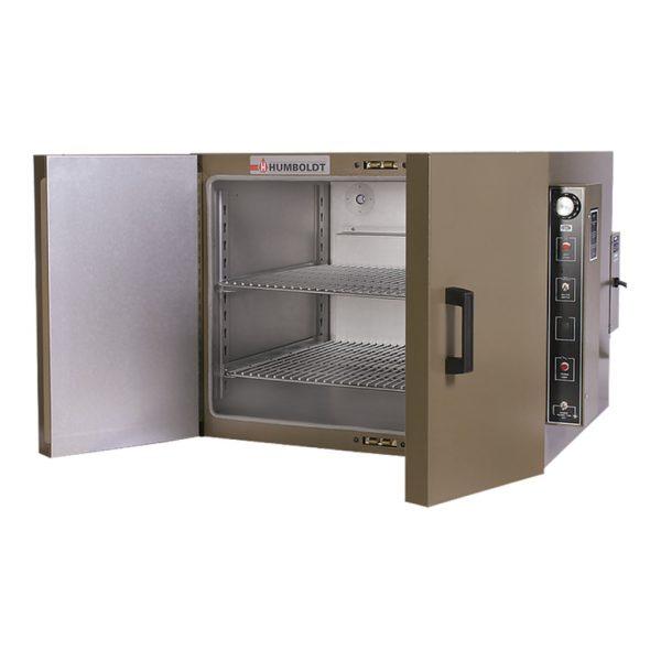 Horno eléctrico de laboratorio para el secado homogéneo de materiales por convección mecánica, con recirculación forzada de aire
