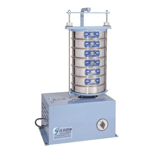Tamizadora eléctrica para separar muestras de agregado. Seis tamices con diámetro de 8″